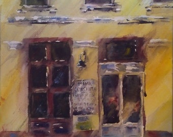 "Storefront, street scene, architecture, yellow. Mama Conchitas. - Original Watercolor Painting 16"" x 12""."