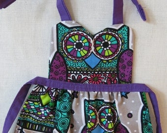 American Girl Size Sugar Skull Owl Full Front Apron / Sweetheart Neck Doll Apron / Bear Clothes