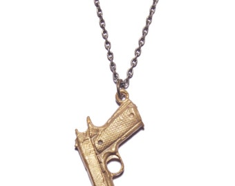 Men's gun necklace - 45 caliber style brass pendant for men. Silver cable chain. Men's Jewelry - Men's accessories