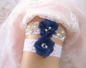 Royal Blue Bridal Garter,Vintage Bridal Garter Set, Wedding Garter Set, Bridal Garter Set, Lace Garter Set, Toss Garter