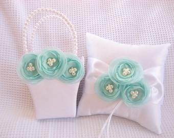 Teal and White Flower Girl Basket and Pillow  Singed Chiffon Flowers Ring Bearer Pillow, Flower Girl Basket Wedding Pillow