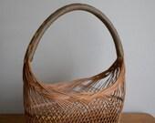 Unique Vintage / Antique Handmade Wicker Basket, Handle Wrapped In Fishing Line, Boho, Folk, Primitive