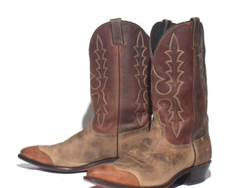 11.5 D | Men's Wingtip Cowboy Boots in Two Tone Brown by Code West
