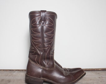 8 D | Men's 1970's Pointed Toe Brown Western Boots