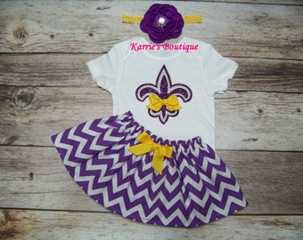 LSU 3 pc Bling Outfit / Onesie + Skirt + Headband / Fleur de Lis / Geaux Tigers / LSU Kids/ Football / Infant/ Baby/ Girl/ Toddler/ Boutique
