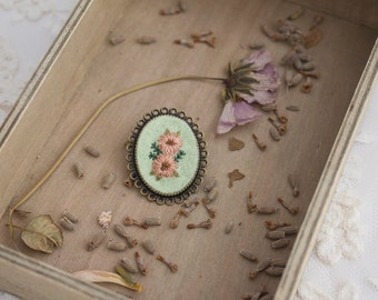 Pastel Flowers Brooch - Hand Embroidery Flower - Antique Bronze Brooch - Brooch Pin - Flower Brooch - Hand Embroidery