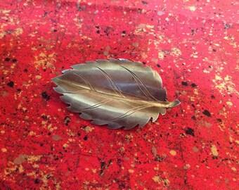 Vintage Silver Elm Leaf Brooch