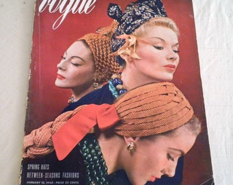 Vintage Vogue 1940's January 15 1940 Vogue Magazine Complete and Original Fashion History