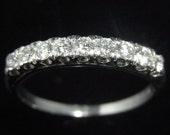 Diamonds Platinum Wedding Band Ring Anniversary Estate Vintage Bridal