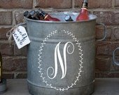 Laurel Monogram Vintage Galvanized Bucket - personalized vintage find from Europe