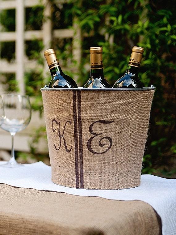 SALE! Double Monogram Burlap Wine Bucket
