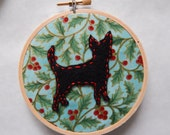"""4"""" Holiday Chihuahua Embroidery Hoop Ornament"""