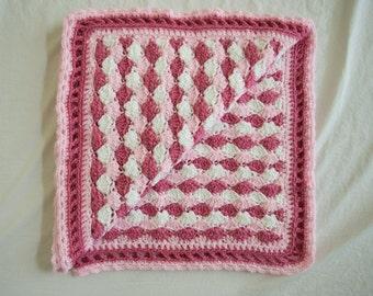 Pink Crochet Shell Baby Afghan