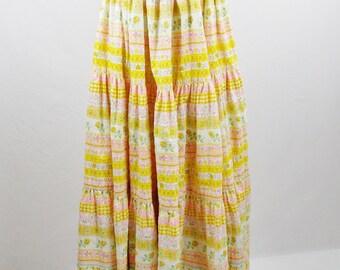 Vintage Designer ADOLFO  SUPERMODEL FESTIVAL Maxi Peasant  Skirt Full Circle Print size Small