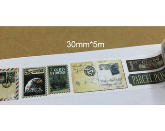 Vintage Style Stamp Washi Tape (30mm X 5M)
