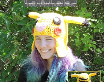 Pikachu Toque, Pokemon crochet custom made hat