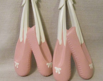 Homco Inc.  Pink Ballet Slippers Wall Hanging Plaque Decor Set of 2
