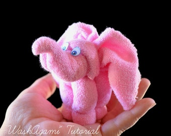 Baby Washcloth Elephant, WashAgami ™, Diaper Cake Topper, Washcloth Animals