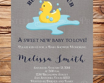 Duckie Baby Shower Invitation, Rub a dub dub, duck, Baby Shower Invitation, BOY, GIRL, Duckie Baby Shower, Gray, Yellow, 1250