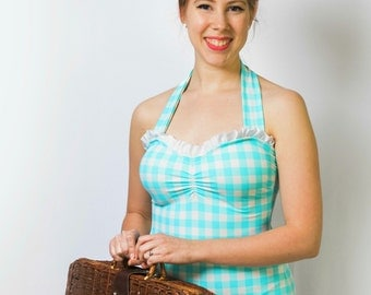 """Vintage One-Piece Gingham Swimsuit - """"Susie"""""""