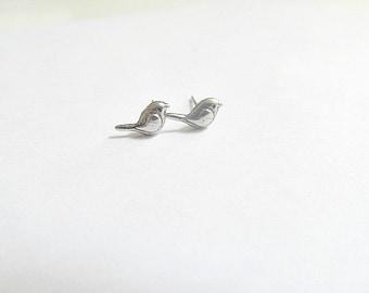 Tiny Silver Love Bird Stud Earrings