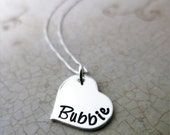 Bubbie Necklace - Sterling Silver Heart Jewelry - Gift for Bubbe - Script Font - Grandkids' Birthstones - Swarovski Crystals - Jewish