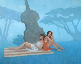 The Blue Garden, Female Figure Painting Signed Giclee Print 15.5x11 inches