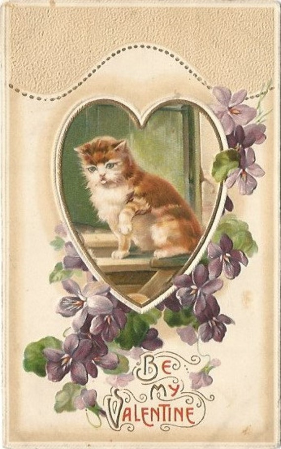 "Orange Tabby Cat Framed within Gold Gilded Heart over Purple Violets ""Be My Valentine"" Vintage Postcard"