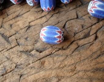 Small matt Venetian African six layer red and blue barrel chevron Trade bead