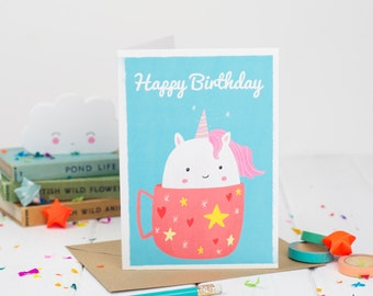 Unicorn Happy Birthday Card - Happy Birthday - Kids Birthday Card - Kawaii Birthday Card - Card For Children - Tea Birthday - Card For Her