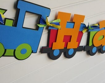 Train Happy Birthday banner in primary colors or pick your own colors