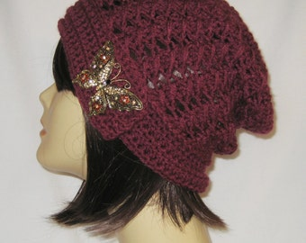 """Slouch decorated with brooch,beanie,hat,cap,burgundy red,made to fit most teens & adults 21-23"""""""