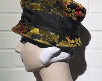 Vintage 60s Multicolored Tapestry Cloche Hat