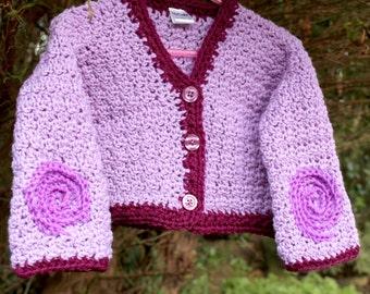 Purple Spiral Crochet Kids 2yr Cardigan Sweater