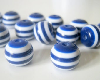 50 Navy Blue and White Stripe Beads Resin, 10mm, Jewelry Making Supplies, Beads