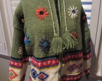 Vintage Boho Wool Hoodie Sweater Size XL