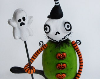 Halloween Art Doll - Halloween Skelly - Black Cat - Halloween Ghost - MADE TO ORDER