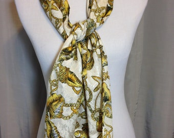 Gold and Cream Nautical Scarf with Sea Shells, Rope, and Anchors Extra Long Scarf 58.5 Inches Long 10.25 Inches Wide