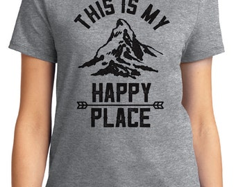 This is My Happy Place Camping Outdoors Unisex & Women's T-shirt Short Sleeve 100% Cotton S-2XL Great Gift (T-CA-07)