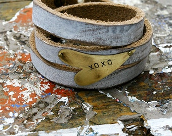 Stamped Heart Leather Wrap Bracelet // Valentine's Day // XOXO // Be Mine // Gifts for Her // Heart // Gold // Conversation Hearts