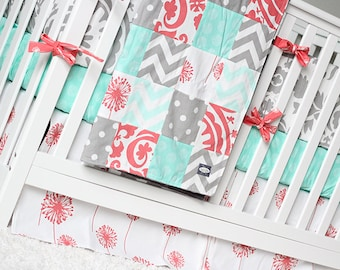 Girl Crib Bedding Set - Mint, Coral and Grey Baby Bedding, Dandelion Bedding Set