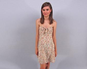 Vintage 90s Floral Dress, Boho Dress, Empire Waist Dress, Summer Dress, Mini Floral Dress Δ size: sm / md