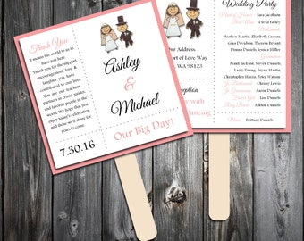 Bride and Groom Program Fans Kit - Printing Included. Wedding ceremony programs