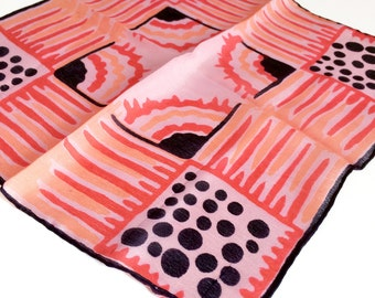 Vintage Red Silk Handkerchief - Modernist Abstract Design
