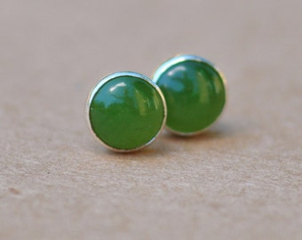 Nephrite Jade Earrings handmade with Sterling Silver Studs. 6mm cabochon gemstone and silver earrings. dark green, jade green, earthy