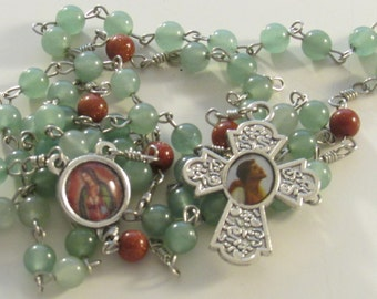 Our Lady of Guadalupe St Juan Diego Green Aventurine Goldstone Gemstone Handmade Catholic Rosary OOAK