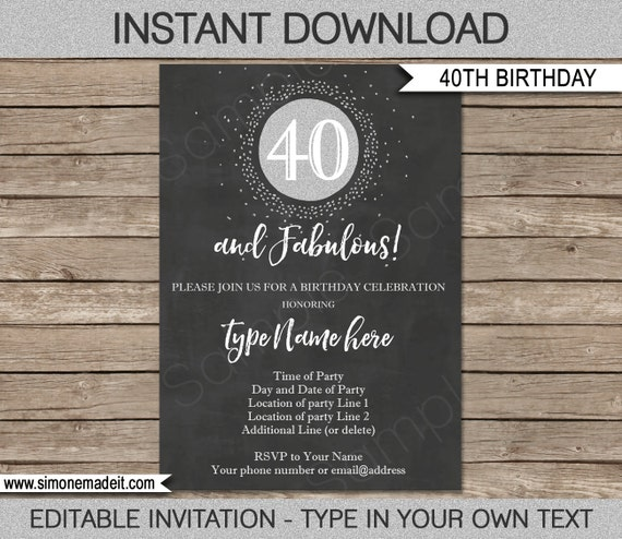 40th birthday invitation template chalkboard silver glitter il570xn filmwisefo Choice Image