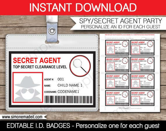 Secret Agent Badge - Spy Birthday Party - Printable Id Badge