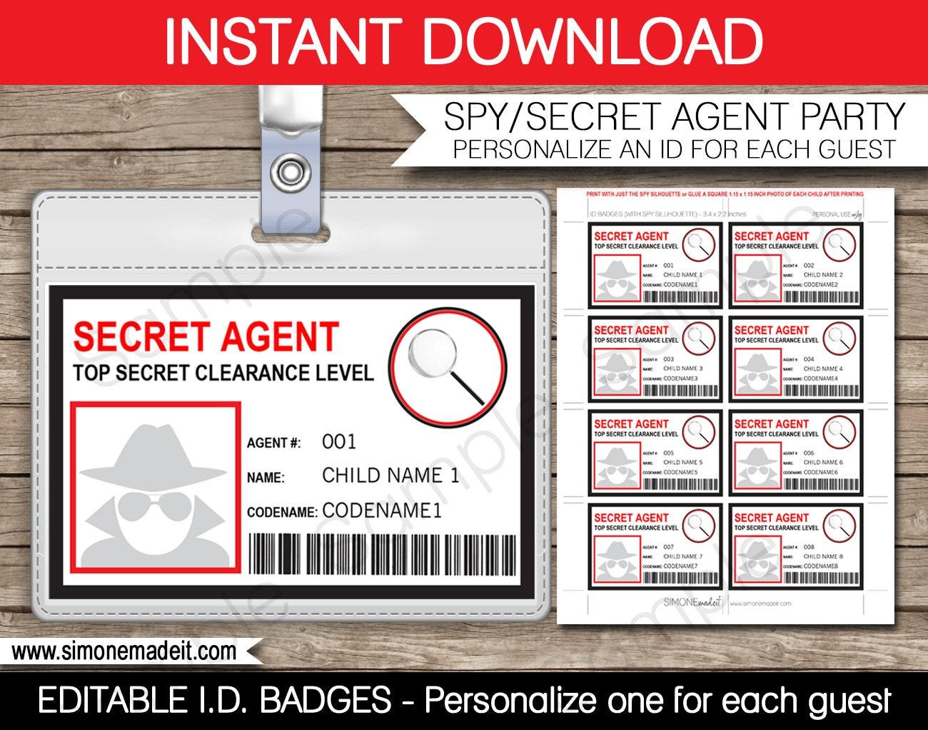 Secret Agent Badge Printable : www.galleryhip.com - The Hippest Pics