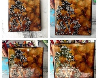 Silhouette Tree Floral Art, Alcohol Ink Tile, Unique Painting, Fall Desert, Phoenix Arizona Style, Neutral Colors, Tortoise Shell Abstract